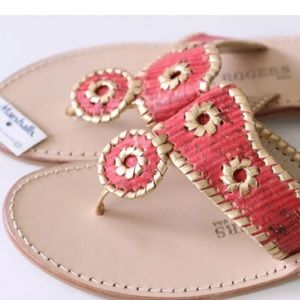JACK ROGERS Napa Valley Navajo Cork Gold Leather 6